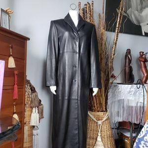 Ann Klein long black leather coat